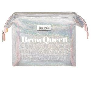 Benefit Brown Queen Sparkly Silver Makeup Bag